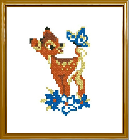 """Схема вышивания крестом - Оленёнок """"Disney Бемби (Bambi)"""""""