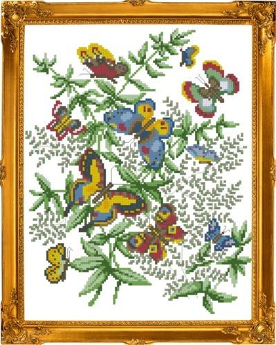Схема вышивания крестом - Танцующие бабочки