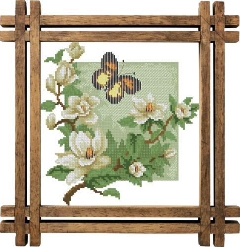 Схема вышивания крестом - Бабочка и магнолия