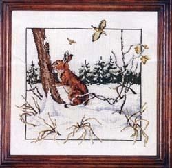 Схема вышивания крестом - Заяц в лесу
