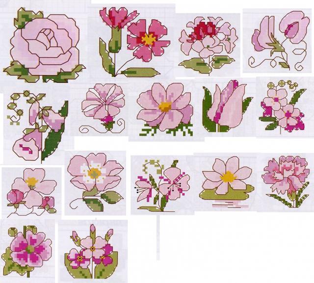 Схема вышивания крестом - Маленькие розовые цветы