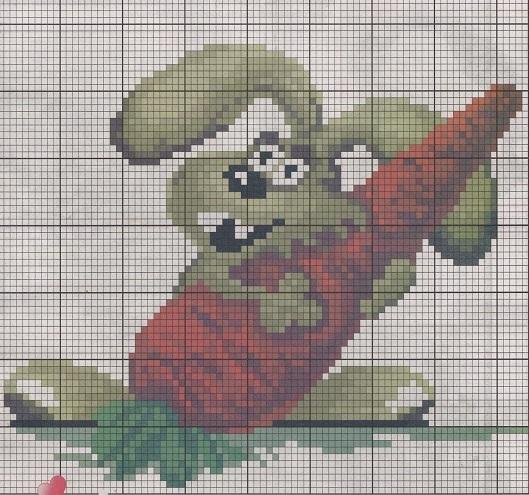 Схема вышивания бисером - Кролик символ года