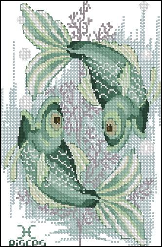 Схема вышивания крестом - Знаки зодиака Рыбы