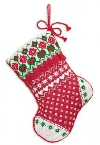 Схема вышивания крестом - Новогодний носок