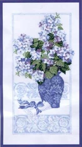 Схема вышивания крестом - Гортензия в вазе