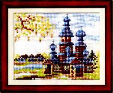 Схема вышивания крестом - Весенний пейзаж с церковью