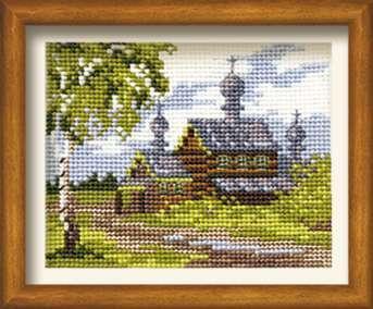 Схема вышивания крестом - Летний пейзаж с церковью