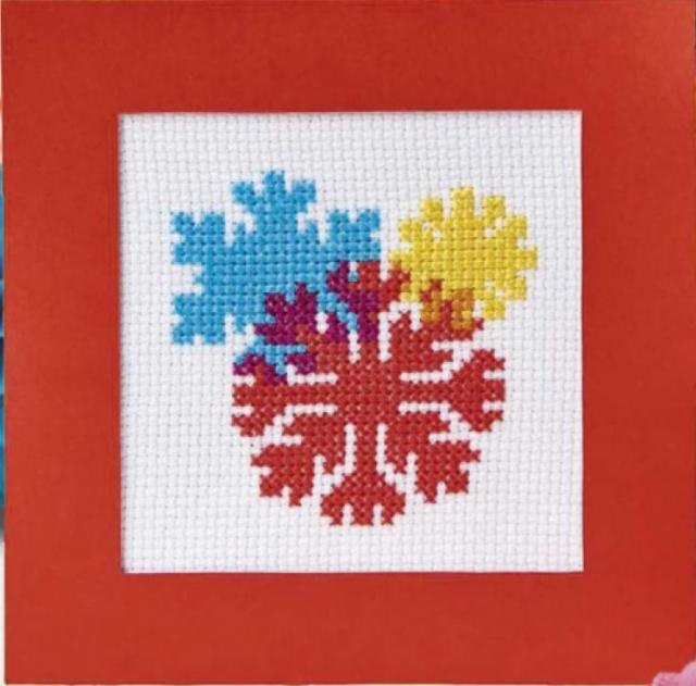 Схема вышивания крестом - Три снежинки