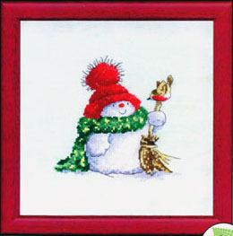 Схема вышивания крестом - Снеговик