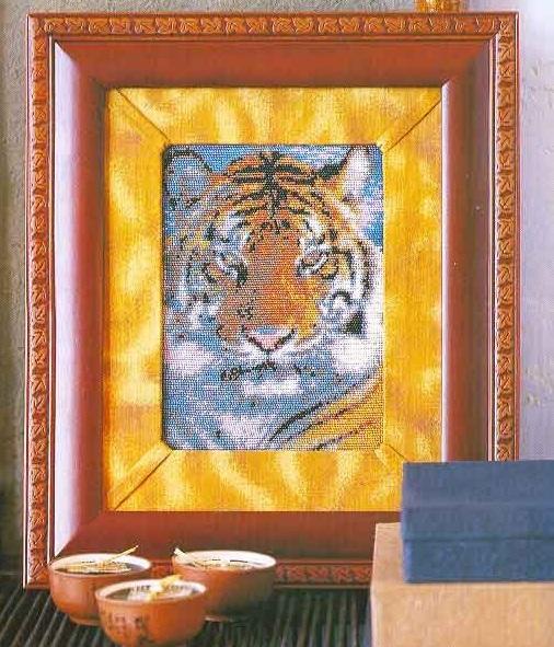 Схема вышивания бисером - Тигр