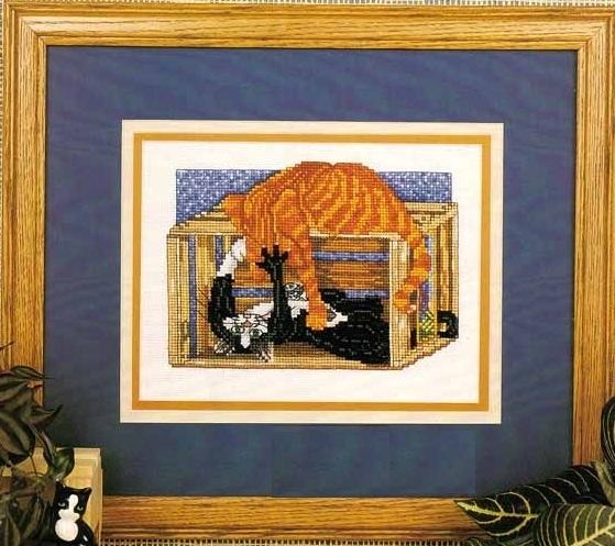 Схема вышивания крестом - Две кошки