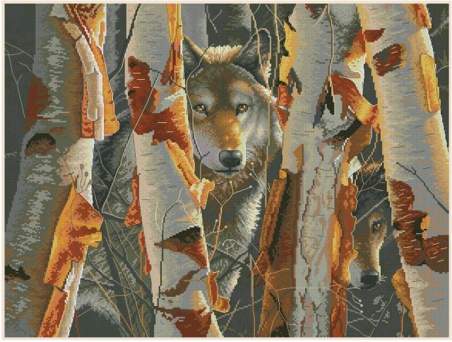 Схема вышивания крестом - Волк в лесу