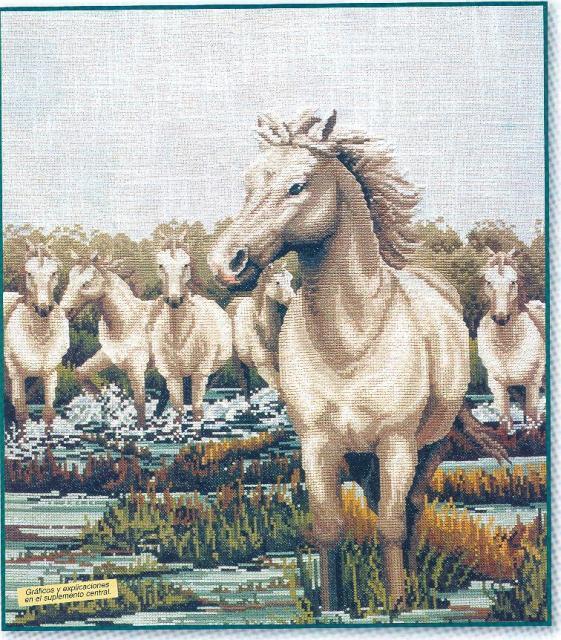 Схема вышивания крестом - Белые лошади