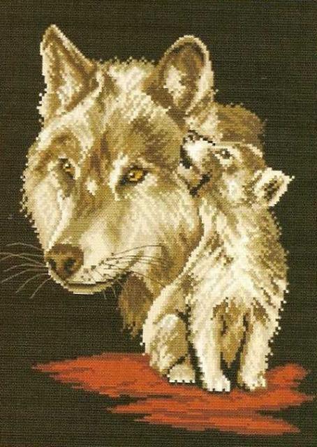 Схема вышивания крестом - Волк и волчёнок