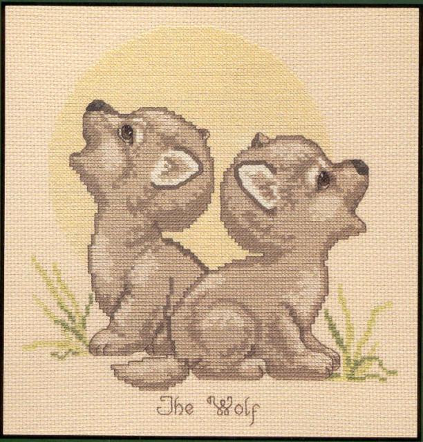 Схема вышивания крестом - Волчата