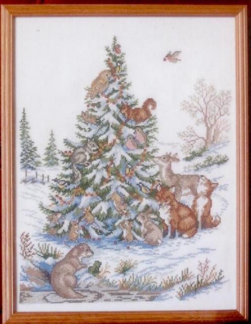 Схема вышивания крестом - Новогодняя елка
