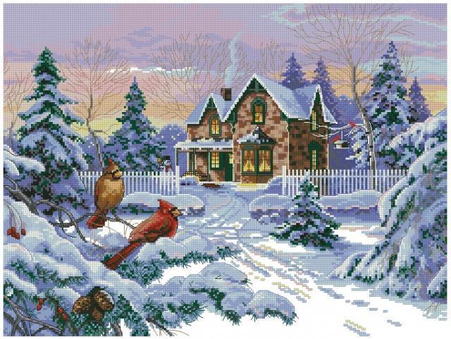 Схема вышивания крестом - Зима