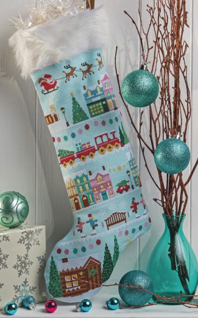 """Схема вышивания крестом - Новогодний носок """"Перед Рождеством"""""""