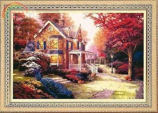 Схема вышивания крестом - Осенний пейзаж