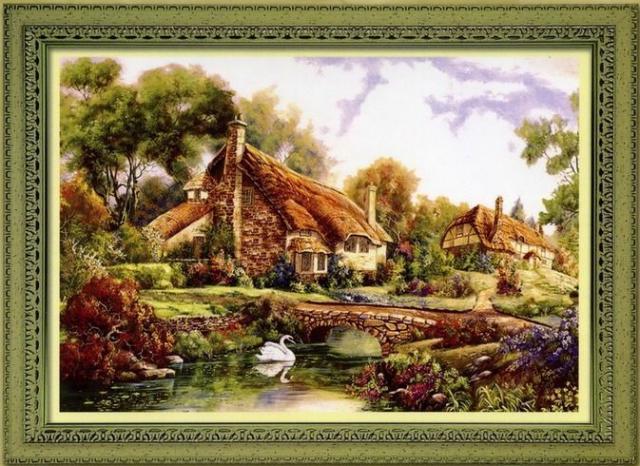 Схема вышивания крестом - Дом