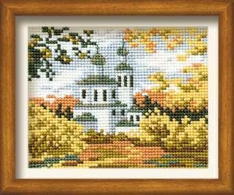 Схема вышивания крестом - Осенний пейзаж с церковью