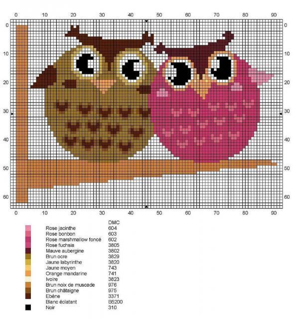 Схема вышивания крестом - Совы