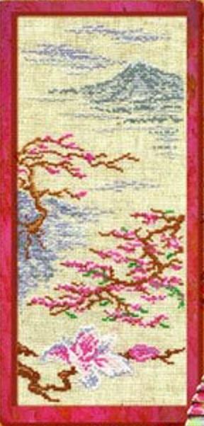 Схема вышивания крестом - Ветка сакуры