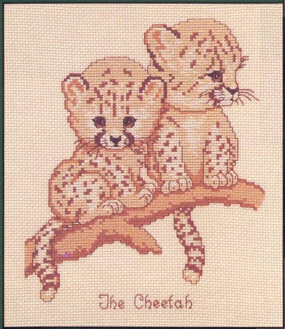 Схема вышивания крестом - Детеныши гепарда