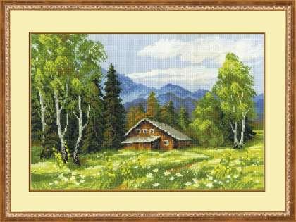 Схема вышивания крестом - Домик в лесу
