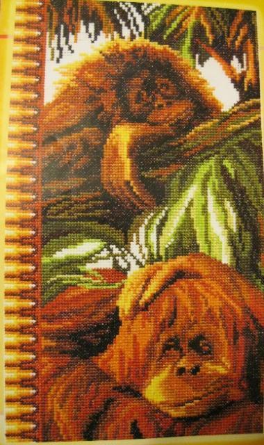 Схема вышивания крестом - Весёлые обезьянки