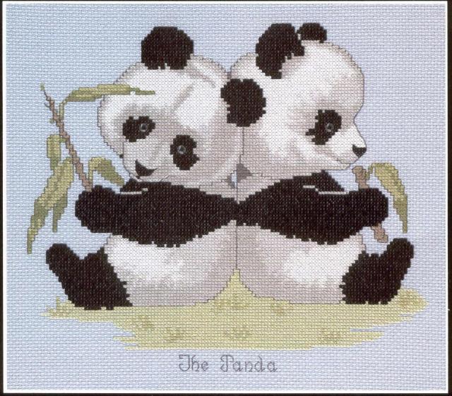 Схема вышивания крестом - Детеныши панды