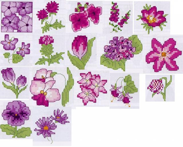 Схема вышивания крестом - Маленькие фиолетовые цветы