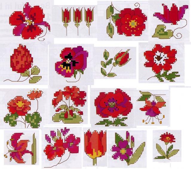 Схема вышивания крестом - Маленькие красные цветы