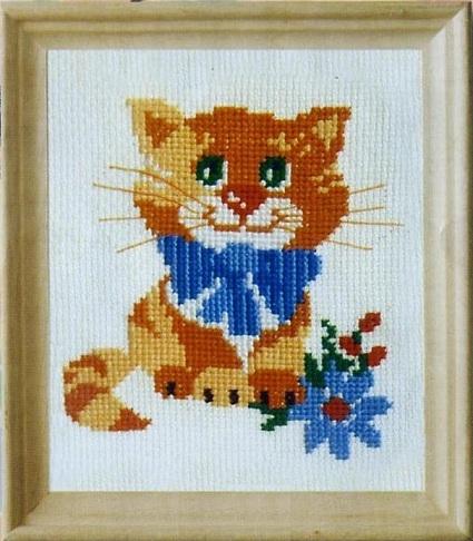 Схема вышивания крестом - Котёнок