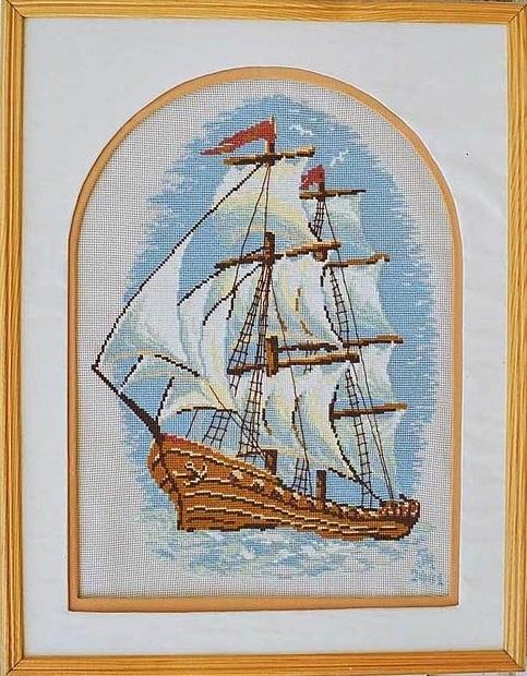 Схема вышивания крестом - Корабль