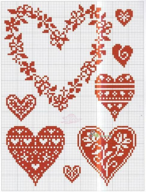 Схема вышивания крестом - Сердечки