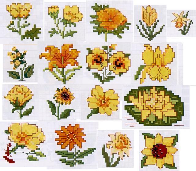 Схема вышивания крестом - Маленькие желтые цветы